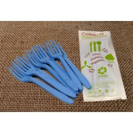 Forquilles compostables blaves pack 15u