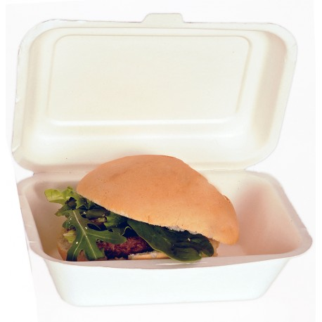Capsa hamburguesa compostable 600ml pack 10u