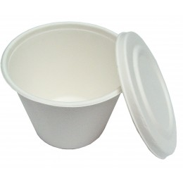 Terrina compostable 500ml amb tapa pack 10u