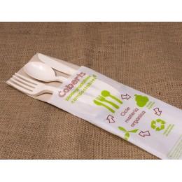 Joc de 3 coberts compostables (forquilla,ganivet,cullera+tovalló)