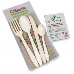 Joc de 4 coberts compostables (amb cullera i cullereta +tovalló+gel)